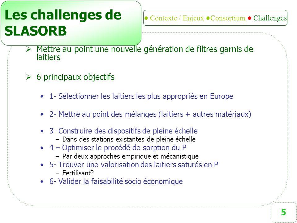5 Les challenges de SLASORB  Mettre au point une nouvelle génération de filtres garnis de laitiers  6 principaux objectifs 1- Sélectionner les laiti