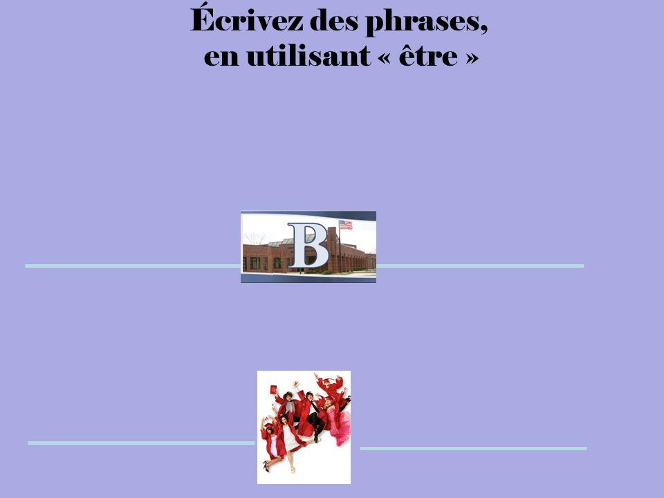 Écrivez des phrases, en utilisant « être »