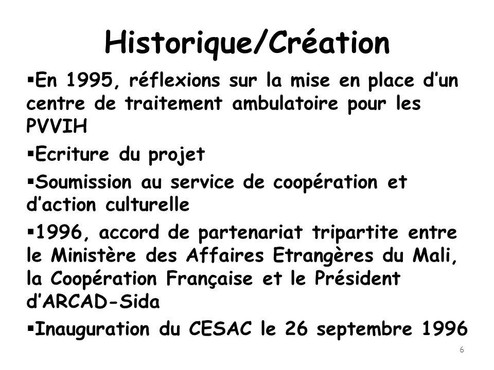 6 Historique/Création  En 1995, réflexions sur la mise en place d'un centre de traitement ambulatoire pour les PVVIH  Ecriture du projet  Soumission au service de coopération et d'action culturelle  1996, accord de partenariat tripartite entre le Ministère des Affaires Etrangères du Mali, la Coopération Française et le Président d'ARCAD-Sida  Inauguration du CESAC le 26 septembre 1996