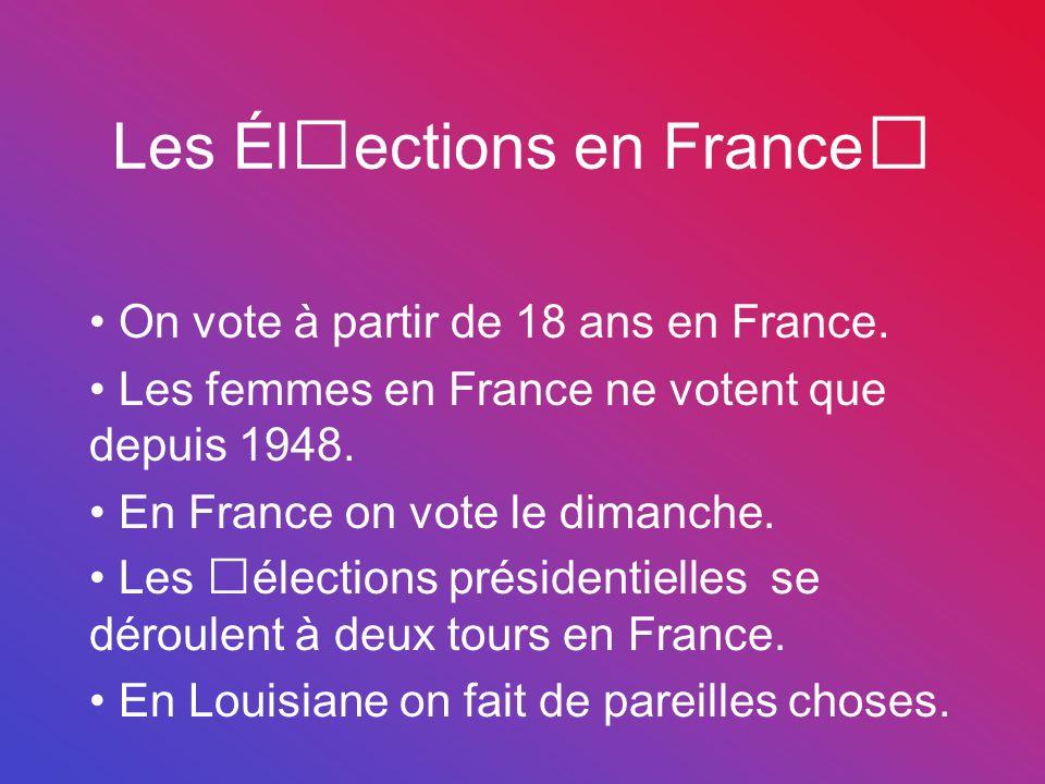 Les Élections en France On vote à partir de 18 ans en France. Les femmes en France ne votent que depuis 1948. En France on vote le dimanche. Les élect