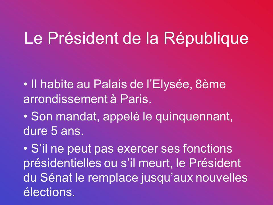 Le Président de la République Il habite au Palais de l'Elysée, 8ème arrondissement à Paris. Son mandat, appelé le quinquennant, dure 5 ans. S'il ne pe