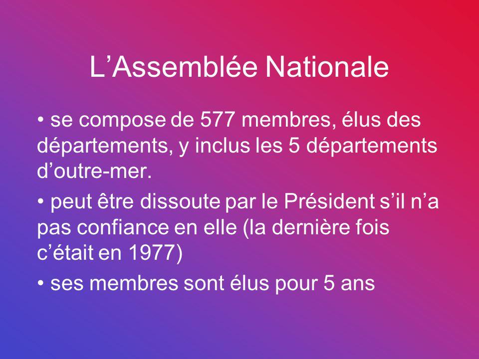 L'Assemblée Nationale se compose de 577 membres, élus des départements, y inclus les 5 départements d'outre-mer. peut être dissoute par le Président s