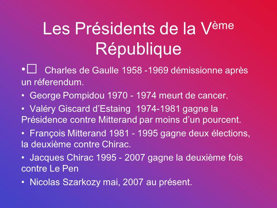 Les Présidents de la V ème République Charles de Gaulle 1958 -1969 démissionne après un réferendum. George Pompidou 1970 - 1974 meurt de cancer. Valér