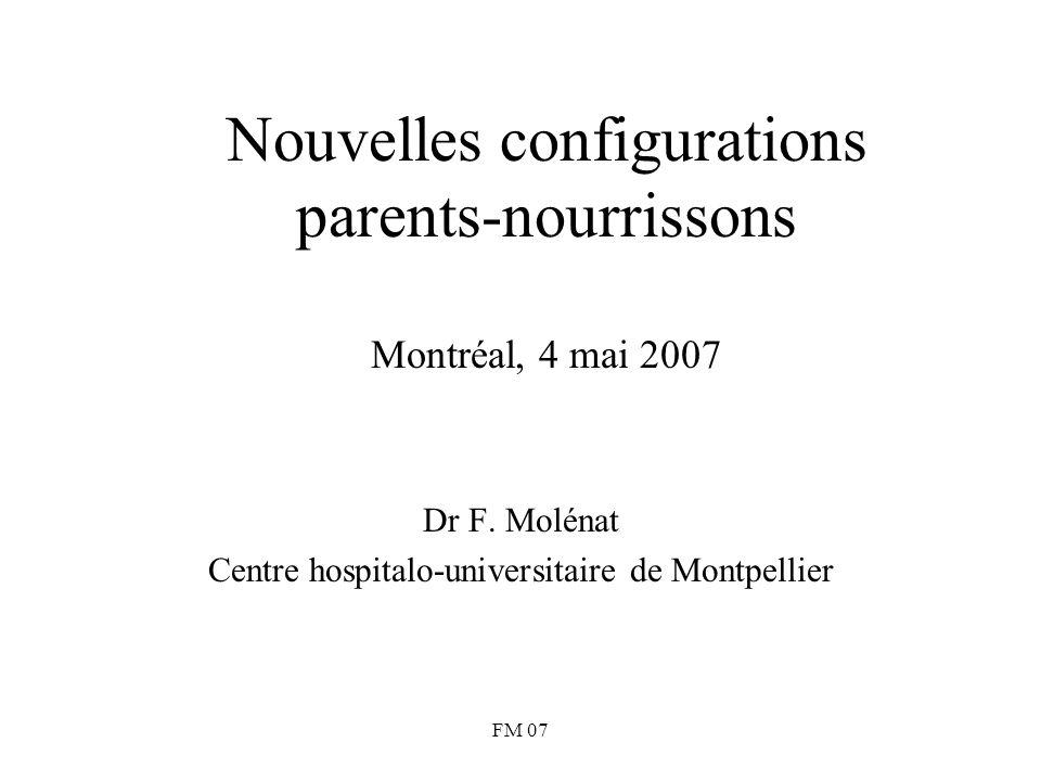 FM 07 Nouvelles configurations parents-nourrissons Montréal, 4 mai 2007 Dr F. Molénat Centre hospitalo-universitaire de Montpellier