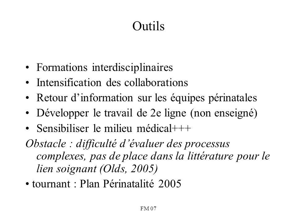 FM 07 Outils Formations interdisciplinaires Intensification des collaborations Retour d'information sur les équipes périnatales Développer le travail