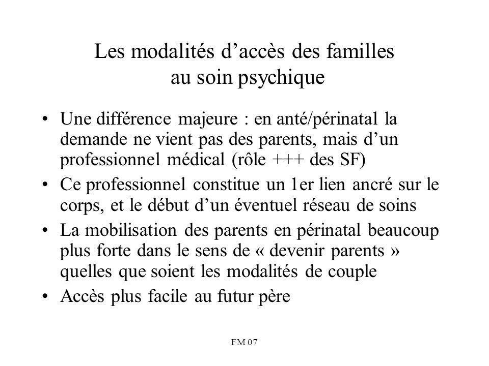 FM 07 Les modalités d'accès des familles au soin psychique Une différence majeure : en anté/périnatal la demande ne vient pas des parents, mais d'un p