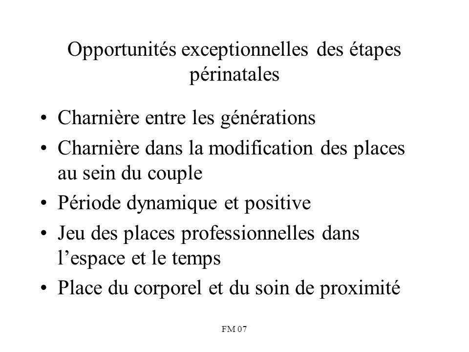 FM 07 Opportunités exceptionnelles des étapes périnatales Charnière entre les générations Charnière dans la modification des places au sein du couple