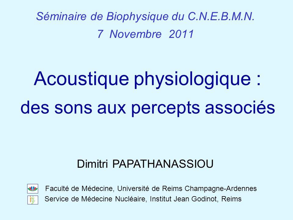 CNEBMN – Séminaire de Biophysique du 7 novembre 2011 – Acoustique physiologique Acoustique physiologique : des sons aux percepts associés Séminaire de Biophysique du C.N.E.B.M.N.