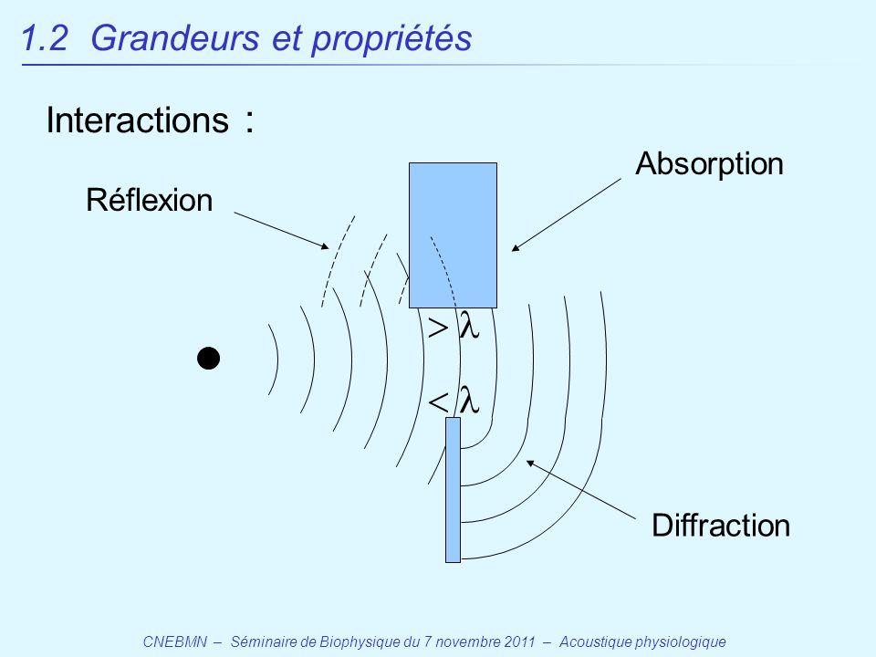 CNEBMN – Séminaire de Biophysique du 7 novembre 2011 – Acoustique physiologique   Absorption Diffraction Réflexion 1.2 Grandeurs et propriétés Interactions :