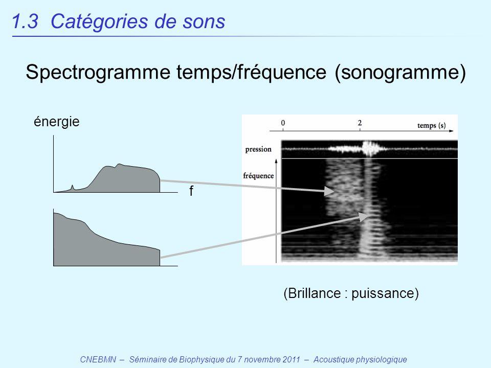 CNEBMN – Séminaire de Biophysique du 7 novembre 2011 – Acoustique physiologique Spectrogramme temps/fréquence (sonogramme) (Brillance : puissance) f énergie 1.3 Catégories de sons