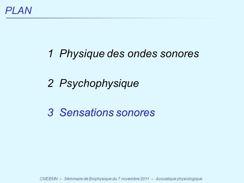 CNEBMN – Séminaire de Biophysique du 7 novembre 2011 – Acoustique physiologique PLAN 1 Physique des ondes sonores 2 Psychophysique 3 Sensations sonores