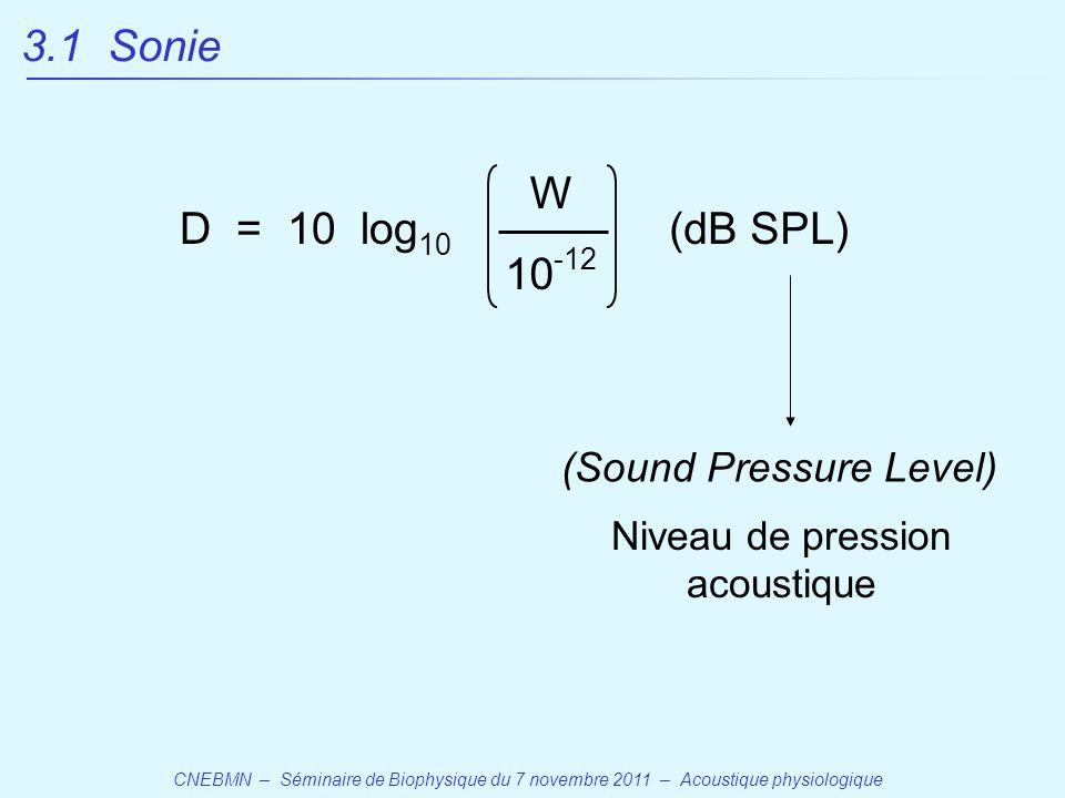 CNEBMN – Séminaire de Biophysique du 7 novembre 2011 – Acoustique physiologique D = 10 log 10 W (dB SPL) 10 -12 (Sound Pressure Level) Niveau de pression acoustique 3.1 Sonie