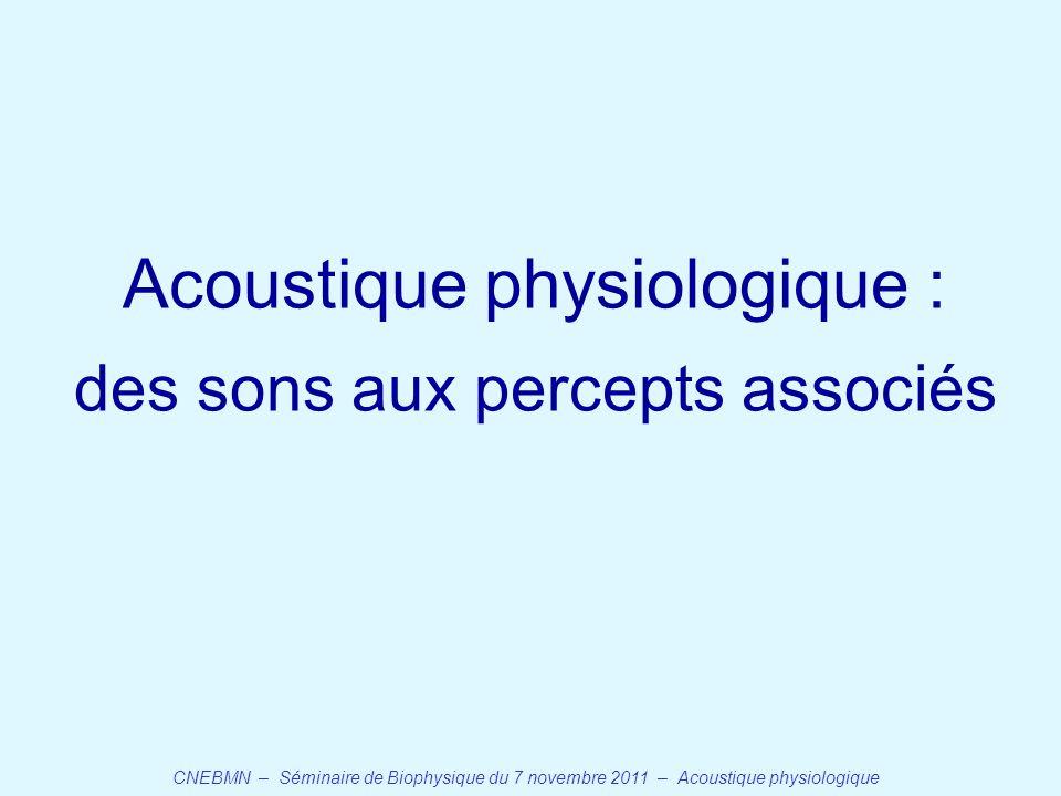 CNEBMN – Séminaire de Biophysique du 7 novembre 2011 – Acoustique physiologique Acoustique physiologique : des sons aux percepts associés