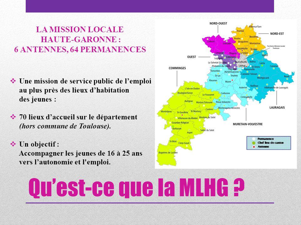 Qu'est-ce que la MLHG ?  Une mission de service public de l'emploi au plus près des lieux d'habitation des jeunes :  70 lieux d'accueil sur le dépar