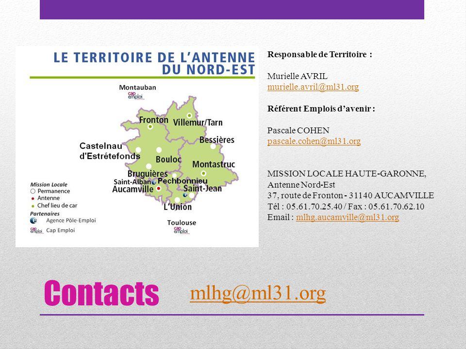 Contacts Responsable de Territoire : Murielle AVRIL murielle.avril@ml31.org Référent Emplois d'avenir : Pascale COHEN pascale.cohen@ml31.org MISSION LOCALE HAUTE-GARONNE, Antenne Nord-Est 37, route de Fronton - 31140 AUCAMVILLE Tél : 05.61.70.25.40 / Fax : 05.61.70.62.10 Email : mlhg.aucamville@ml31.orgmlhg.aucamville@ml31.org mlhg@ml31.org