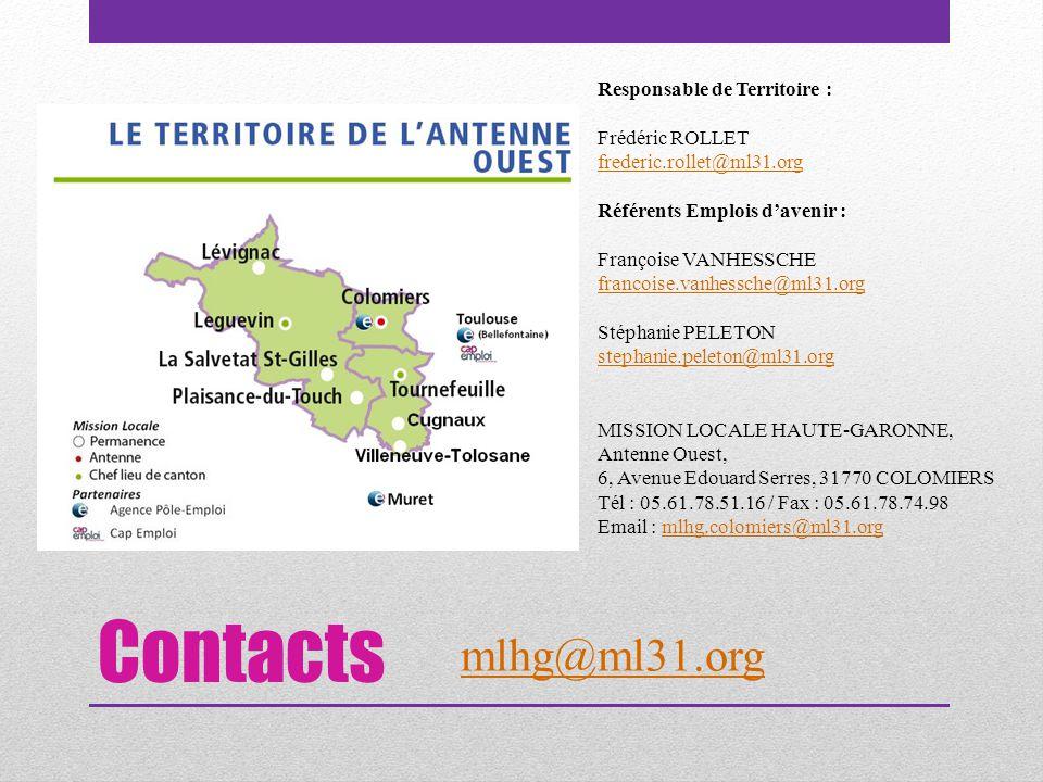 Contacts Responsable de Territoire : Frédéric ROLLET frederic.rollet@ml31.org Référents Emplois d'avenir : Françoise VANHESSCHE francoise.vanhessche@m
