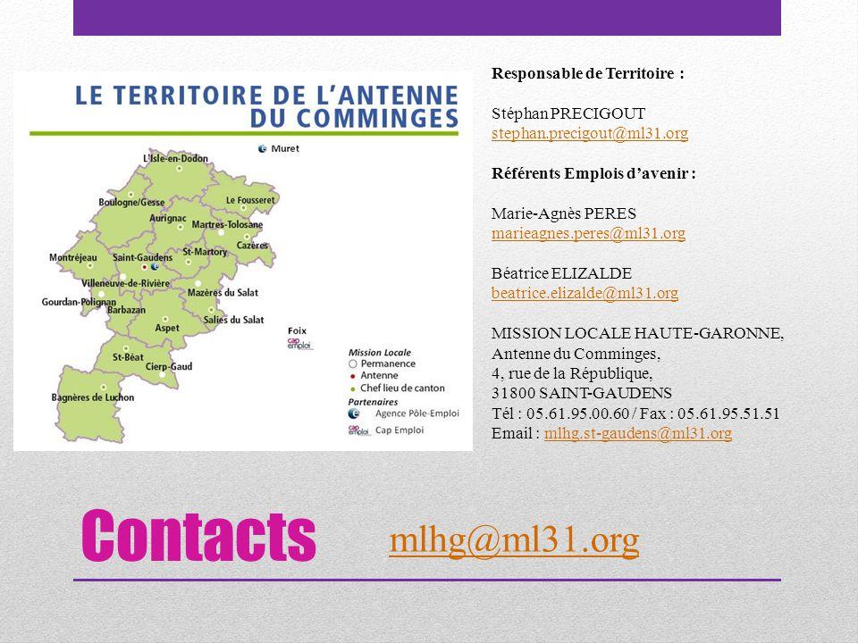Contacts Responsable de Territoire : Stéphan PRECIGOUT stephan.precigout@ml31.org Référents Emplois d'avenir : Marie-Agnès PERES marieagnes.peres@ml31