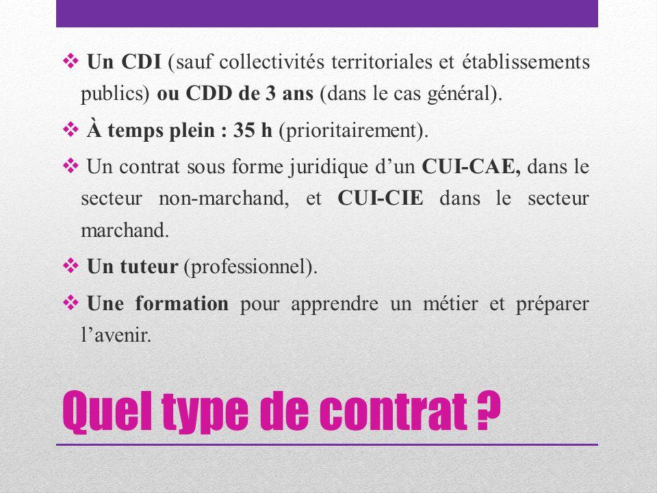Quel type de contrat ?  Un CDI (sauf collectivités territoriales et établissements publics) ou CDD de 3 ans (dans le cas général).  À temps plein :