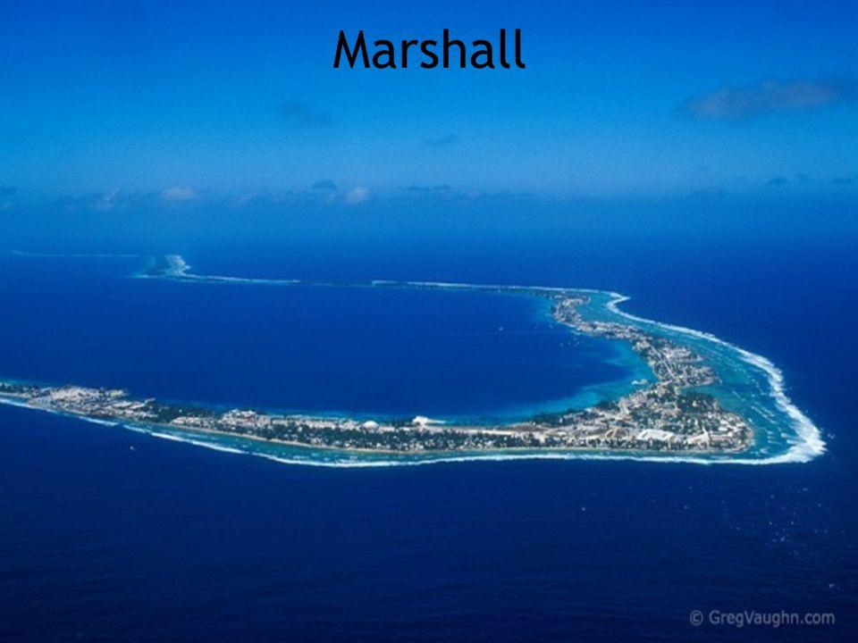 Marshall  Superficie: 181 km./2  Nombre d'habitants: 63,000  Capitale: Dulap-Uliga-Darrit  Langues officielles: Marshallais, Anglais  Indépendance: Des États-Unis le 21 oct.