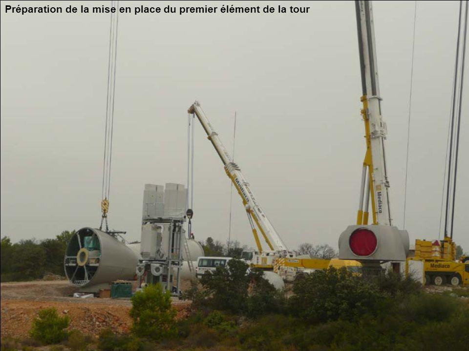 Préparation de la mise en place du premier élément de la tour