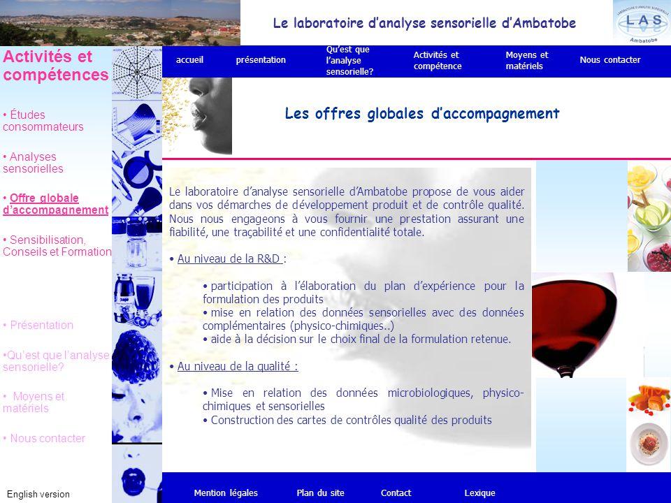Le laboratoire d'analyse sensorielle d'Ambatobe English version Les offres globales d'accompagnement Mention légalesPlan du siteContact Activités et c