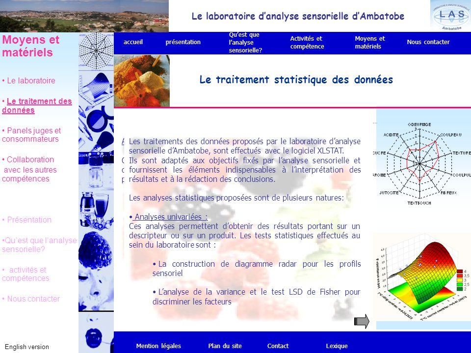 Analyses multivariées Ces analyses permettent d'obtenir des résultats pour l'ensemble des données recueillies. Au sein du laboratoire, notre expertise