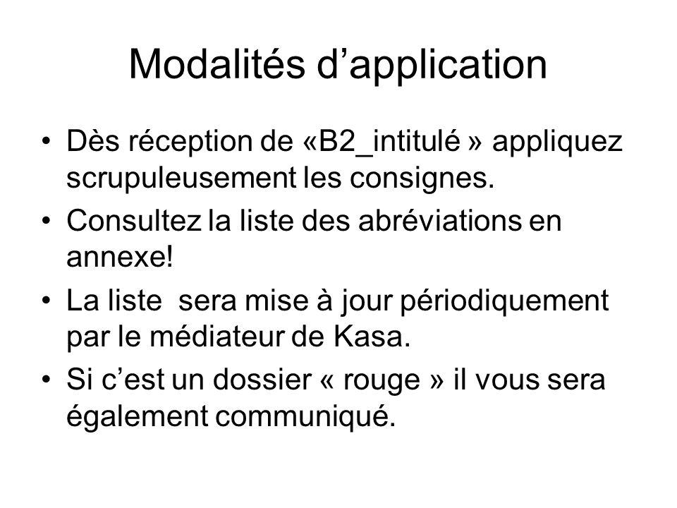 Modalités d'application Dès réception de «B2_intitulé » appliquez scrupuleusement les consignes. Consultez la liste des abréviations en annexe! La lis