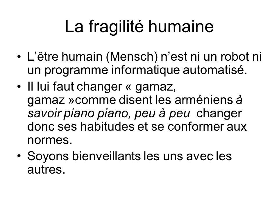 La fragilité humaine L'être humain (Mensch) n'est ni un robot ni un programme informatique automatisé. Il lui faut changer « gamaz, gamaz »comme disen