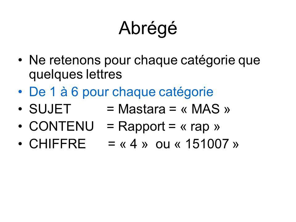 Abrégé Ne retenons pour chaque catégorie que quelques lettres De 1 à 6 pour chaque catégorie SUJET = Mastara = « MAS » CONTENU= Rapport = « rap » CHIFFRE = « 4 » ou « 151007 »