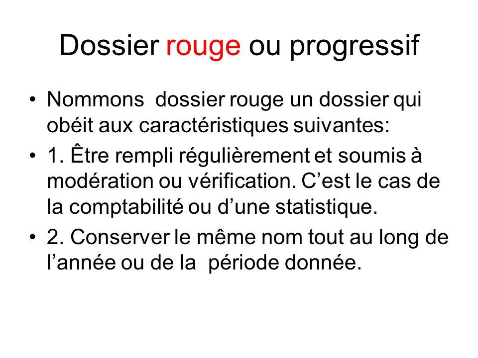 Dossier rouge ou progressif Nommons dossier rouge un dossier qui obéit aux caractéristiques suivantes: 1. Être rempli régulièrement et soumis à modéra