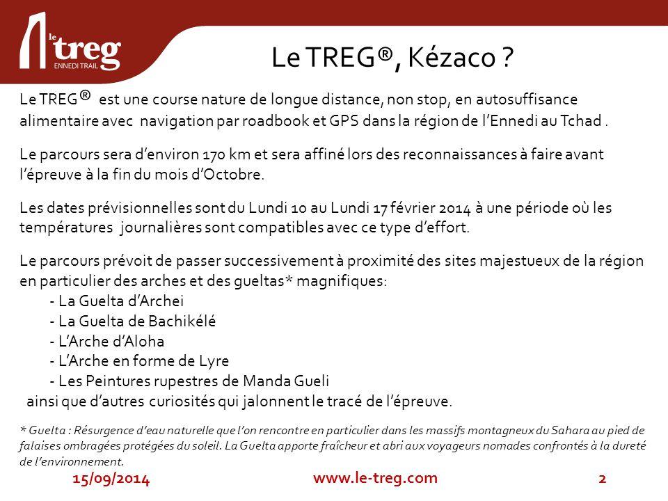 Le TREG ® est une course nature de longue distance, non stop, en autosuffisance alimentaire avec navigation par roadbook et GPS dans la région de l'Ennedi au Tchad.