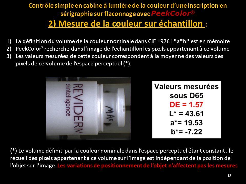 13 Contrôle simple en cabine à lumière de la couleur d'une inscription en sérigraphie sur flaconnage avec PeekColor ® 2) Mesure de la couleur sur écha