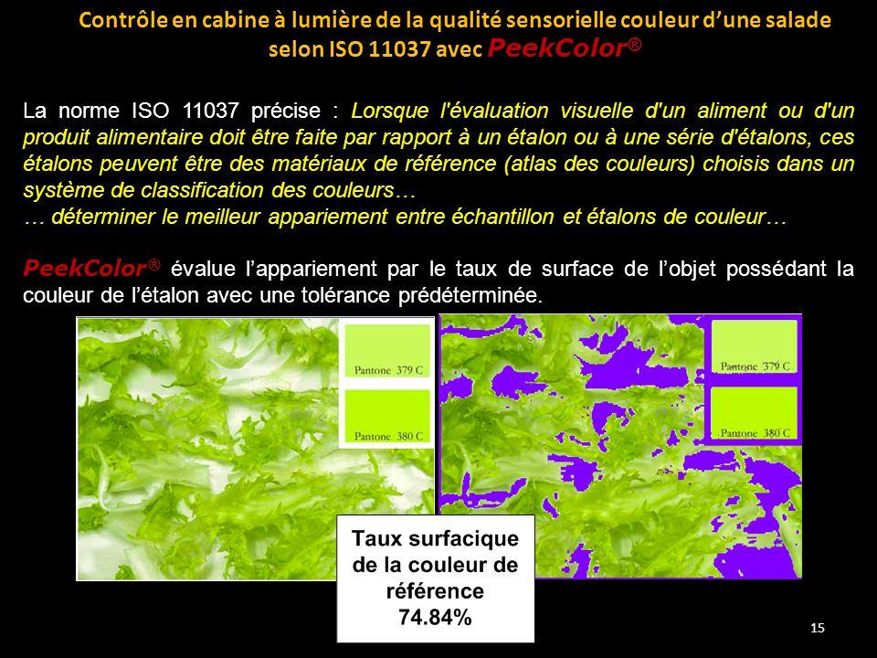 15 Contrôle en cabine à lumière de la qualité sensorielle couleur d'une salade selon ISO 11037 avec PeekColor ® La norme ISO 11037 précise : Lorsque l
