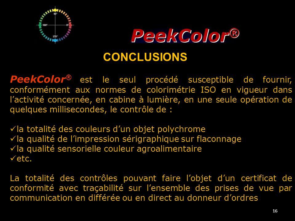 16 PeekColor ® est le seul procédé susceptible de fournir, conformément aux normes de colorimétrie ISO en vigueur dans l'activité concernée, en cabine