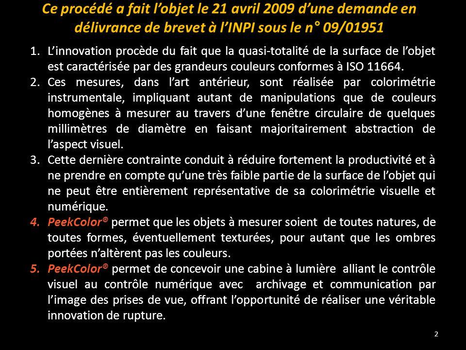 2 Ce procédé a fait l'objet le 21 avril 2009 d'une demande en délivrance de brevet à l'INPI sous le n° 09/01951 1.L'innovation procède du fait que la