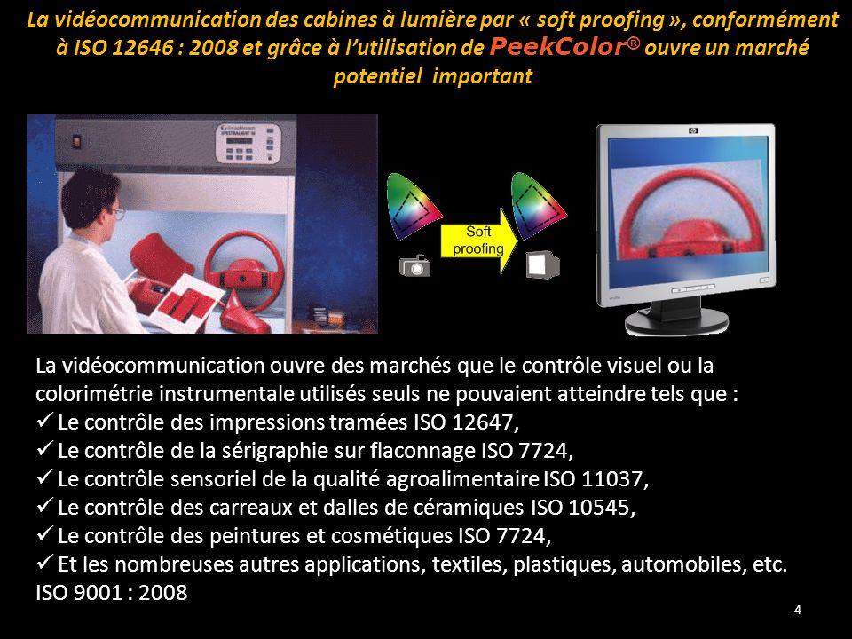 4 La vidéocommunication des cabines à lumière par « soft proofing », conformément à ISO 12646 : 2008 et grâce à l'utilisation de PeekColor ® ouvre un