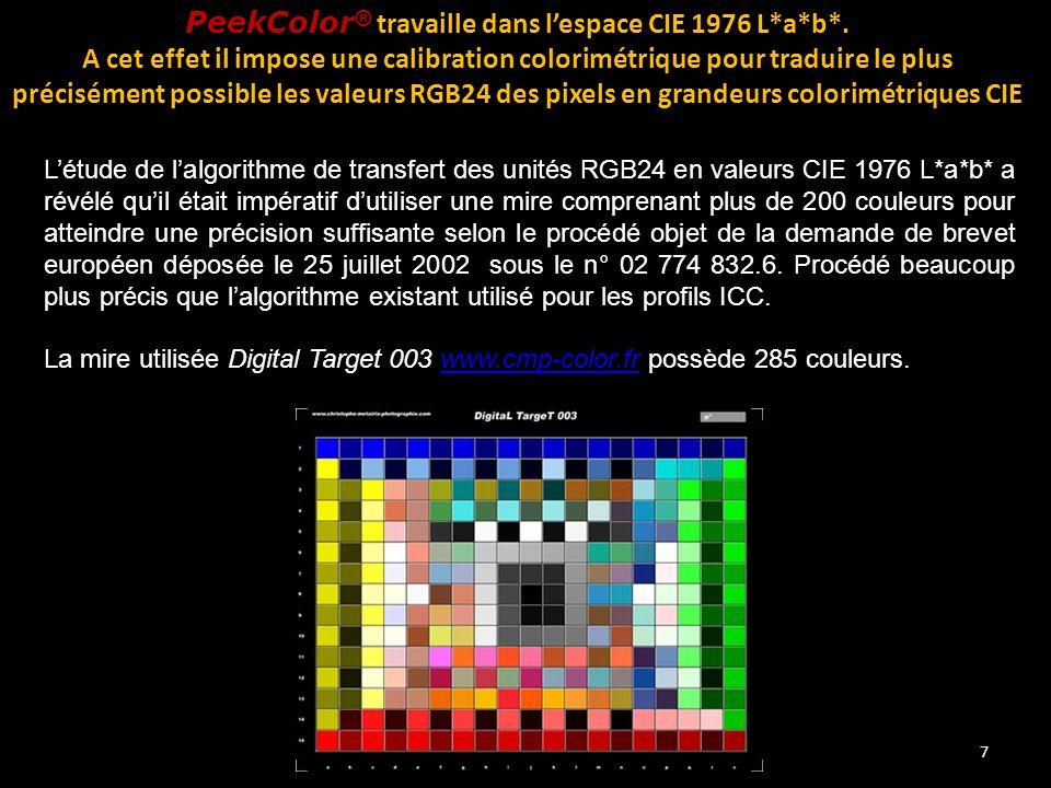 7 PeekColor ® travaille dans l'espace CIE 1976 L*a*b*. A cet effet il impose une calibration colorimétrique pour traduire le plus précisément possible