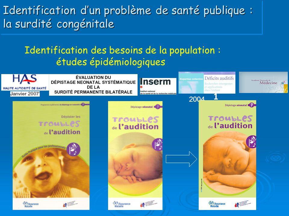 Identification d'un problème de santé publique : la surdité congénitale 1 2004 Identification des besoins de la population : études épidémiologiques 1