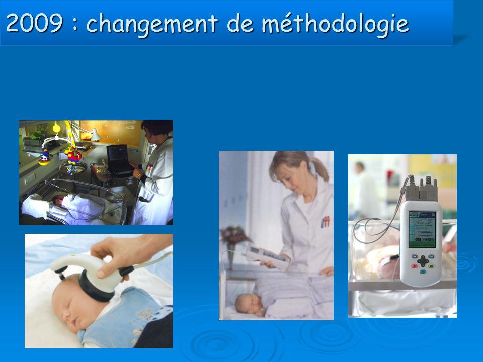 2009 : changement de méthodologie NN en maternité : OEA NN transférés : PEAA