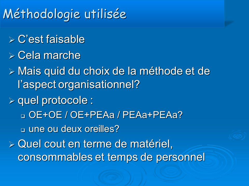 Méthodologie utiliséeMéthodologie utilisée  C'est faisable  Cela marche  Mais quid du choix de la méthode et de l'aspect organisationnel?  quel pr