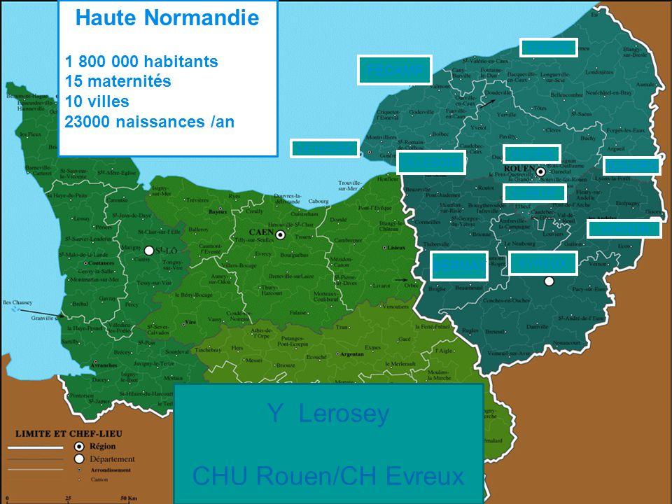 ROUEN EVREUX LE HAVRE DIEPPE FECAMP VERNON GISORS BERNAY LILLEBONE ELBEUF Haute Normandie 1 800 000 habitants 15 maternités 10 villes 23000 naissances