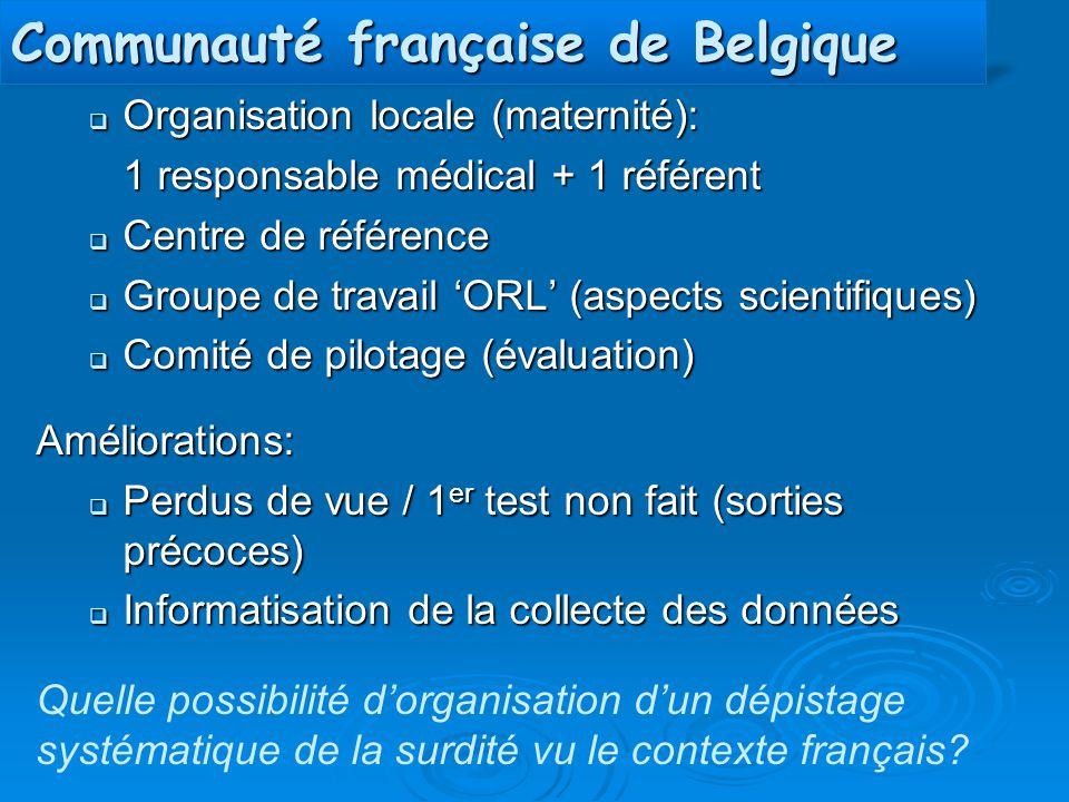 Communauté française de Belgique  Organisation locale (maternité): 1 responsable médical + 1 référent  Centre de référence  Groupe de travail 'ORL'