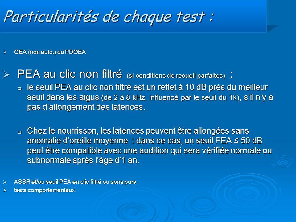 Particularités de chaque test :  OEA (non auto.) ou PDOEA  PEA au clic non filtré (si conditions de recueil parfaites) :  le seuil PEA au clic non