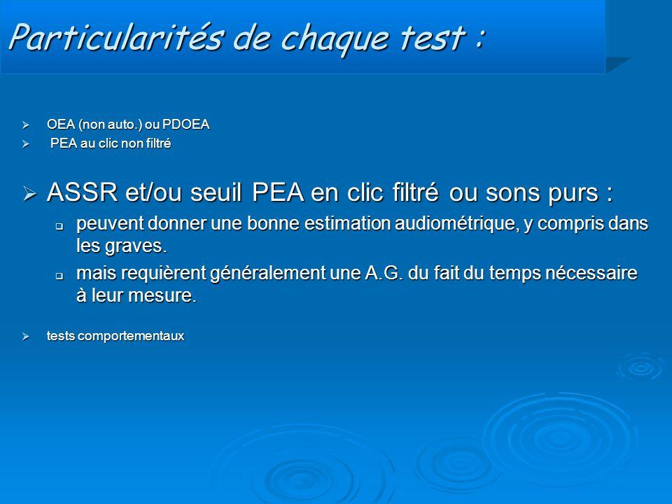 Particularités de chaque test :  OEA (non auto.) ou PDOEA  PEA au clic non filtré  ASSR et/ou seuil PEA en clic filtré ou sons purs :  peuvent don