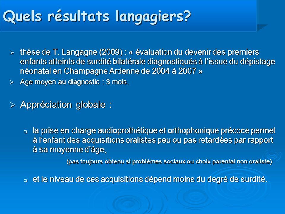 Quels résultats langagiers?  thèse de T. Langagne (2009) : « évaluation du devenir des premiers enfants atteints de surdité bilatérale diagnostiqués
