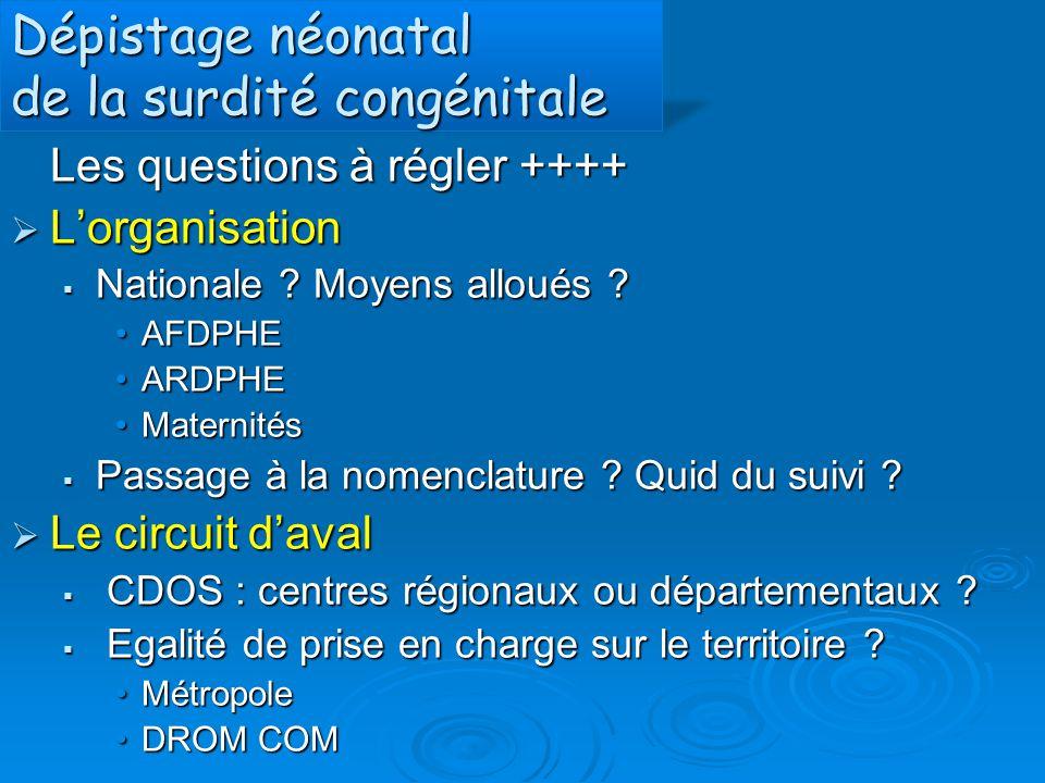 Dépistage néonatal de la surdité congénitale Les questions à régler ++++  L'organisation  Nationale ? Moyens alloués ? AFDPHEAFDPHE ARDPHEARDPHE Mat