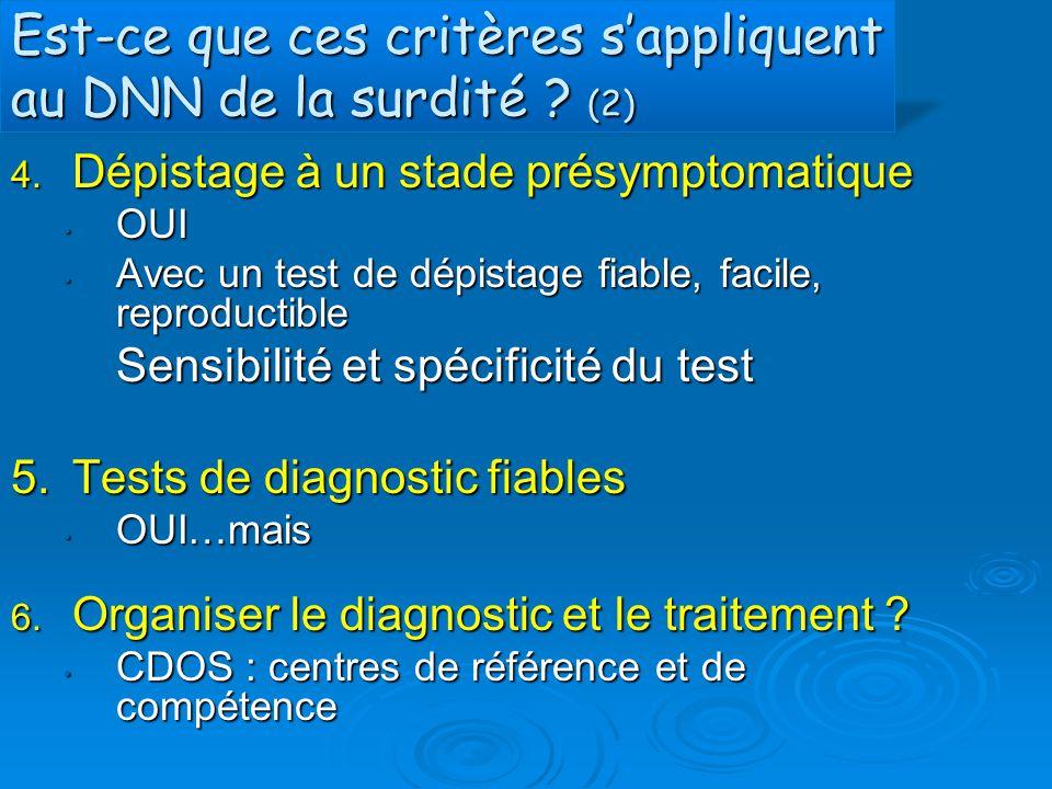Est-ce que ces critères s'appliquent au DNN de la surdité ? (2) 4. Dépistage à un stade présymptomatique OUI OUI Avec un test de dépistage fiable, fac