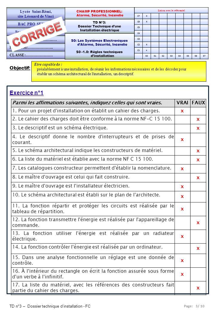 Page: 3/ 10 TD n°3 – Dossier technique d'installation - FC Objectif: Etre capable de : préalablement à une installation, de réunir les informations né