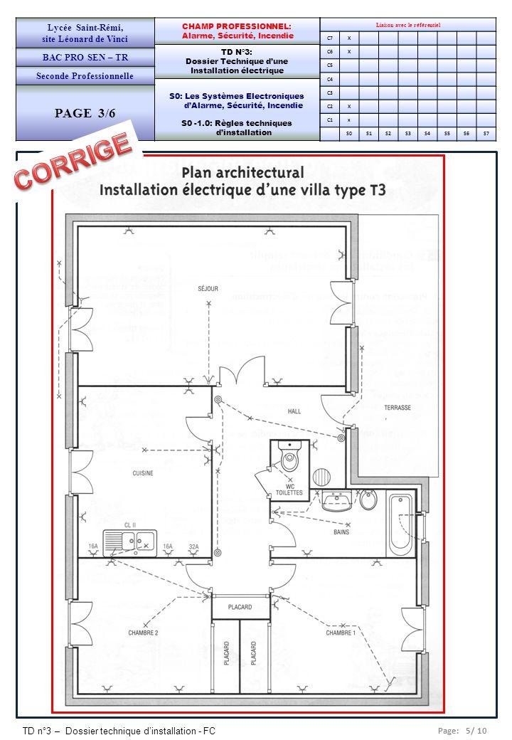 Page: 5/ 10 TD n°3 – Dossier technique d'installation - FC Liaison avec le référentiel C7X C6X C5 C4 C3 C2X C1x S0S1S2S3S4S5S6S7 CHAMP PROFESSIONNEL: