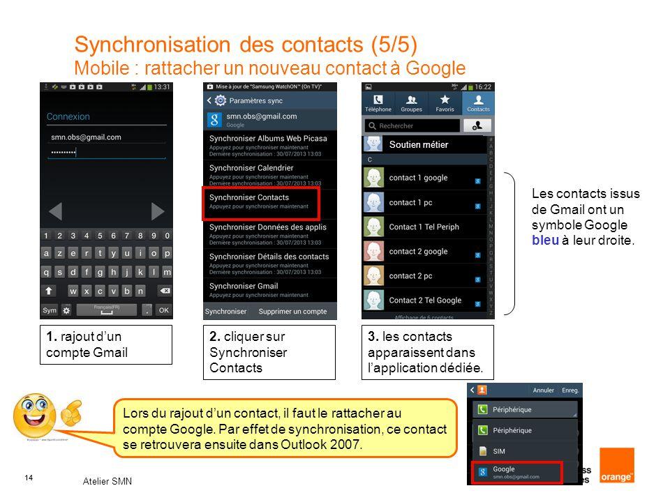 14 Atelier SMN 14 Synchronisation des contacts (5/5) Mobile : rattacher un nouveau contact à Google 1. rajout d'un compte Gmail 2. cliquer sur Synchro